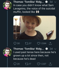 Tomska: Thomas 'TomSka' Ridg... C. 3d  In case you didn't know what Sam  Lavagnino, the voice of the suicidal  muffin, looked like 35  30  37  1.594  Thomas 'Tomska, Ridg e 2d v/  I used past tense here because he's  grown up a lot since then, not  because he's dead  17  1.337