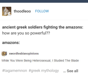 Blade, Lesbians, and Soldiers: thoodleoo FOLLOW  ancient greek soldiers fighting the amazons:  how are you so powerful??  amazons:  swordlesbianopinions  While You Were Being Heterosexual, I Studied The Blade  #tagamemnon #greek mythology  See all Sword lesbians RT if u agree?