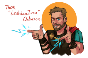 Lesbians, Target, and Tumblr: THOR  Lesbian Lcon  Odinson exzireart:  Here to support you local Lesbians ⚡️🌈⚡️