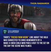 "Chris Hemsworth, Facts, and Memes: THOR: RAGNAROK  CINEMA  FACTS  Follow @cinfacts  for more content  THOR'S ""FRIEND FROM WORK"" LINE ABOUT THE HULK  WAS SUGGESTED TO CHRIS HEMSWORTH BY A  MAKE-A-WISH CHILD WHO PAID A VISIT TO THE SET ON  THE DAY THE SCENE WAS FILMED. ""Yes! That's how it feels!"" Best reference to a previous mcu movie ever - Follow @cinfacts for more facts"