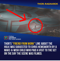 "Chris Hemsworth, Facts, and Memes: THOR: RAGNAROK  Follow  CINEMA  FACTS @Cinfacts  for more content  THOR'S ""FRIEND FROM WORK"" LINE ABOUT THE  HULK WAS SUGGESTED TO CHRIS HEMSWORTH BY A  MAKE-A-WISH CHILD WHO PAID A VISIT TO THE SET  ON THE DAY THE SCENE WAS FILMED And Him trying to imitate Black Widow is pure gold! Your thoughts?⠀ -⠀⠀ Follow @cinfacts for more facts"