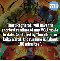 "Anaconda, Batman, and Memes: Thor: Ragnarok will have the  shortest runtime of any MCU movie  to date. As stated by Thor director  Taika Waitit, the runtime is ""about  100 minuites"". Better be good if it's that short - My other IG accounts @factsofflash @yourpoketrivia @webslingerfacts ⠀⠀⠀⠀⠀⠀⠀⠀⠀⠀⠀⠀⠀⠀⠀⠀⠀⠀⠀⠀⠀⠀⠀⠀⠀⠀⠀⠀⠀⠀⠀⠀⠀⠀⠀⠀ ⠀⠀--------------------- batmanvssuperman xmen batman superman wonderwoman deadpool spiderman hulk thor ironman marvel greenlantern theflash wolverine daredevil aquaman justiceleague homecoming ragnarok ezramiller wallywest redhood avengers jasontodd blackpanther tomholland dickgrayson like4like injustice2"