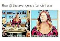 Memes, The Avengers, and 🤖: thor the avengers after civil war  Did yod miss me Bitches  I'm back, bitches. This may happen in Infinity Wars 😂😂 Especially with Thor's long hair 😂😂😂