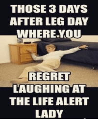 Life Alert, Memes, and Regret: THOSE 3 DAYS  AFTER LEG DAY  WHERE YOU  REGRET  LAUGHING AT  THE LIFE ALERT  LADY