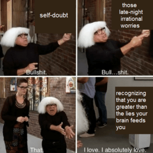 Some wholesome memes to remind you that youre awesome: those  late-night  irrational  self-doubt  worries  Bullshit.  Bull...shit.  recognizing  that you are  greater than  the lies your  brain feeds  you  I love. I absolutely love.  That Some wholesome memes to remind you that youre awesome