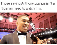 Memes, Politics, and Watch: Those saying Anthony Joshua isn't a  Nigerian need to watch this.  @WHYPREE TH0  VIP CitizenOfTheWorld 😂 Politics OneWay 💯 . . - - 🚨 FOLLOW: @whypree_tho_vip & @whypree_tv ⚠️ for more 🆘🔥‼️