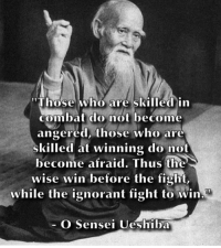 "Fight to remain calm 🙏 . markiron: ""Those who are skilled in  combat do not become  angered, those who are  skilled at winning do not  become afraid. Thus the  wise win before the fight,  while the ignorant fight to win  O Sensei Ueshiba Fight to remain calm 🙏 . markiron"