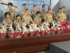 My troop about to deliver christmas baskets to elderly shut-ins: those who  diligently seek Him  Ho  s 11:6 My troop about to deliver christmas baskets to elderly shut-ins