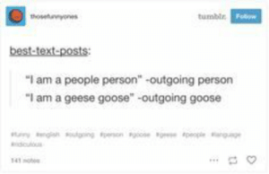 "Cats, Dogs, and Tumblr: thoseyones  tumblr Fo  best-text-posts  ""I am a people person  -outgoing person  ""I am a geese goose"" -outgoing goose  pe  y ng going esono  eple  dculus  41ob Move aside, cats and dogs. It's BIRB time."