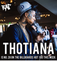 "Anaconda, Memes, and 🤖: THOTIANA  IS NO. 28 ON THE BILLBOARDS HOT 100 THIS WEEK Blueface's ""Thotiana"" reaches a new peak of 28 on the Hot 100. 📈 @bluefacebleedem 📸 @kendallvisuals"