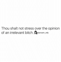 SarcasmOnly: Thou shalt not stress over the opinion  of an irrelevant bitch. Aty  @sarcasm on SarcasmOnly