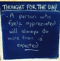 Memes, Appreciate, and Thought: THOUGHT FOR THE DAY  Person who  fels appreciate  will always do  witl alwas do  more. than is$  exfecte What do you think about that? FTM ThinkMinority @m2jaspreetsingh