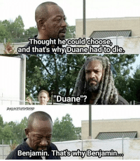"Poor Morgan. I'm kinda happy crazy Morgan is back, but scared at the same time. 😬😆 - - TheWalkingDead TheWalkingDeadamc TWD TWDFamily MorganJones LennieJames DuaneJones KingEzekiel KharyPayton Benjamin LoganMiller Richard dead CrazyMorgan hesback: Thought he could  choose  and that's why Duane had to die  ""Duane""?  Benjamin. Thats why Benjaminoo Poor Morgan. I'm kinda happy crazy Morgan is back, but scared at the same time. 😬😆 - - TheWalkingDead TheWalkingDeadamc TWD TWDFamily MorganJones LennieJames DuaneJones KingEzekiel KharyPayton Benjamin LoganMiller Richard dead CrazyMorgan hesback"