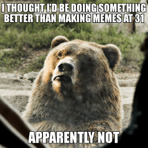 Apparently, Bear, and Thought: THOUGHT ID BEDOING SOMETHING  BETER THAN MAKING MEMESAT 01  APPARENTLY NOT Introducing a new addition, the I Thought Wrong Bear