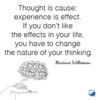Simple, yet not always easy!: Thought is cause:  experience is effect  If you don't like  the effects in your life,  you have to change  the nature of your thinking  Marianne Williamson Simple, yet not always easy!