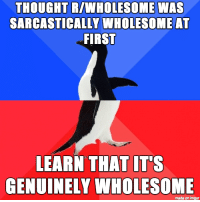 """Http, Imgur, and Wholesome: THOUGHT R/WHOLESOME WAS  SARCASTICALLY WHOLESOME AT  FIRST  LEARN THAT IT'S  GENUINELY WHOLESOME  made on imgur <p>This place makes my day. via /r/wholesomememes <a href=""""http://ift.tt/2mWpPog"""">http://ift.tt/2mWpPog</a></p>"""