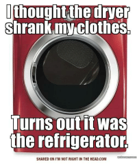Submitted by Charlie Gregor: thought the dryer  shrank myclothes  Turns out it was  the refrigerator.  SHARED ON I'M NOT RIGHT IN THE HEAD.COM Submitted by Charlie Gregor