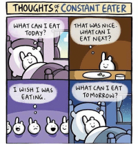 Gym, Today, and Tomorrow: THOUGHTS CONSTANT EATER  THAT WAS NICE  WHAT CAN I  WHAT CAN I EAT  TODAY?  EAT NEXT?  I WISH I WAS  EATING  WHAT CAN I EAT  TOMORROW?  0 This is too real.