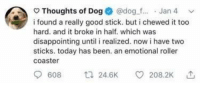 Good, Today, and Wholesome: Thoughts of Dog @dog.f... Jan 4  i found a really good stick. but i chewed it too  hard. and it broke in half. which was  disappointing until i realized. now i have two  sticks. today has been. an emotional roller  coaster  608 24.6K 208.2K Wholesome dog