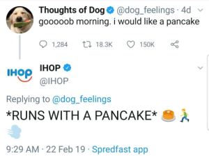 Big companys can be wholesome too.: Thoughts of Dog @dog_feelings 4d  gooooob morning. i would like a pancake  1,28418.3K 150K  IHop IHOP  Replying to@dog_feelings  *RUNS WITH A PANCAKE  @lHoP  9:29 AM 22 Feb 19 Spredfast app Big companys can be wholesome too.