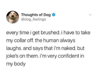 Jokes, Naked, and Time: Thoughts of Dog  @dog._feelings  every time i get brushed. i have to take  my collar off. the human always  laughs. and says that i'm naked. but  joke's on them. i'm very confident in  my body