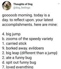 "Funny, Today, and Dog: Thoughts of Dog  @dog_feelings  gooooob morning. today is a  day. to reflect upon. your latest  accomplishments. here are mine:  4. big jump  b. zooms of the speedy variety  1. carried stick  9. borked away. evildoers  2. big leap (different than a jump)  2. ate a funny bug  d. spit out funny bug  7. loved everything <p>I wanna be a dog someday via /r/wholesomememes <a href=""https://ift.tt/2LRj40f"">https://ift.tt/2LRj40f</a></p>"