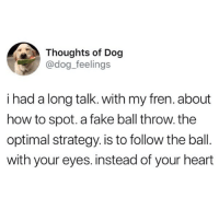 Wise doggo: Thoughts of Dog  @dog_feelings  i had a long talk. with my fren. about  how to spot. a fake ball throw. the  optimal strategy. is to follow the ball.  with your eyes. instead of your heart Wise doggo