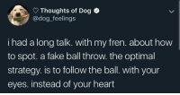 Dogs are so pure.: Thoughts of Dog  @dog_feelings  i had a long talk. with my fren. about how  to spot. a fake ball throw. the optimal  strategy. is to follow the ball. with your  eyes. instead of your heart Dogs are so pure.