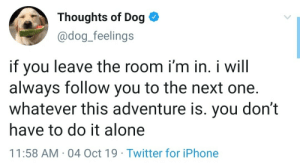 awesomacious:  You don't have to do it alone!: Thoughts of Dog  @dog_feelings  if you  always follow you to the next one.  whatever this adventure is. you don't  leave the room i'm in. i will  have to do it alone  11:58 AM 04 Oct 19 Twitter for iPhone awesomacious:  You don't have to do it alone!