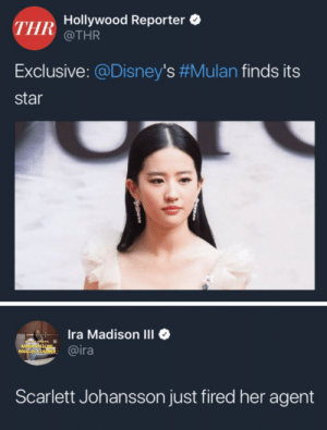 Dank, Memes, and Mulan: THR  Hollywood Reporter  @THR  Exclusive: @Disney's #Mulan finds its  star  Ira Madison III  @ira  1  Scarlett Johansson just fired her agent When will my reflection show who I am inside? by tabinom MORE MEMES