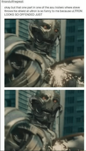 Funny, Okay, and Time: thranduilthegreat:  okay but that one part in one of the aou trailers where steve  throws his shield at ultron is so funny to me because uLTRON  LOOKS SO OFFENDED JUST That time Ultron was offended
