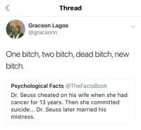 Bitch, Blackpeopletwitter, and Dr. Seuss: Thread  Gracson Lagos  @gracsonn  One bitch, two bitch, dead bitch, new  bitch  Psychological Facts @TheFactsBook  Dr. Seuss cheated on his wife when she had  cancer for 13 years. Then she committed  suicide... Dr. Seuss later married his  mistress <p>Today on Twitter Ruins Everything: Childhood Edition (via /r/BlackPeopleTwitter)</p>