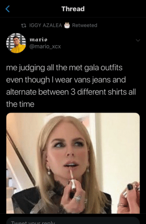 : Thread  IGGY AZALEA Retweeted  @mario_XCX  me judging all the met gala outfits  even though I wear vans jeans and  alternate between 3 different shirts all  the time  酓