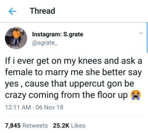I am going to bring out the mike tyson in me by shivam_s MORE MEMES: Thread  Instagram: S.grate  @sgrate  If i ever get on my knees and ask a  female to marry me she better say  yes, cause that uppercut gon be  crazy coming from the floor up  12:11 AM . 06 Nov 18  7,845 Retweets 25.2K Likes I am going to bring out the mike tyson in me by shivam_s MORE MEMES