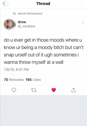 : Thread  ti stenie Retweeted  drew  mcdrew  do u ever get in those moods where u  know ur being a moody bitch but can't  snap urself out of it ugh sometimes i  wanna throw myself at a wall  7/8/18, 8:01 PM  70 Retweets 195 Likes