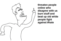 Beats, Dank Memes, and Threatening: threaten people  online who  disagree with us  burn stuff and  beat up old white  people fight  against