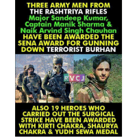 Memes, 🤖, and Chakra: THREE ARMY MEN FROM  THE RASHTRIYA RIFLES  Major Sandeep Kumar,  Captain Manik Sharma &  Naik Arvind Singh Chauhan  HAVE BEEN AWARDED THE  SENA AWARD FOR GUNNING  DOWN TERRORIST BURHAN  RVCJ  WWW. RVCJ.COM  ALSO 19 HEROES WHO  CARRIED OUT THE SURGICAL  STRIKE HAVE BEEN AWARDED  WITH KIRTI CHAKRA, SHAURYA.  CHAKRA & YUDH SEWA MEDAL Respect rvcjinsta