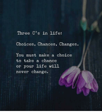 Life, Change, and Never: Three C's in life:  Choices, Chances, Changes.  You must make a choice  to take a chance  or your life will  never change
