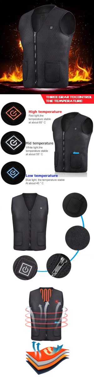 livelaughlovematters:  Winter may be beautiful but it brings with it unimaginable cold that no ordinary clothing can protect you from. You could layer several warm clothes over your body but this does not guarantee that you'll be comfortably toasty, especially if you are outdoors. Why suffer when you can wear a Rechargeable Heat Vest? The Rechargeable Heat Vest is capable of providing your body warmth that can last for hours. Crafted in such a way that heat is distributed evenly throughout, unlike other kinds of electric vests that have areas that never warm up. This vest was made specifically to restore your body's vitality, relieve any muscle pain, and promote blood circulation while keeping your body warm and cozy. This high-end heated material enables quick smooth electric warmth without radiation. This Vest will make the Perfect Holiday Gift for your Friends and Family!=> YOU CAN GET YOURS HERE <=: THREE GRAR TOCONTROL  THE TEMPERATLRE  High temperature  Red light,the  temperature stable  at about 65° C  Mid temperature  White light,the  temperature stable  at about 55° C  Low temperature  Blue light, the temperature stable  At about 45° C livelaughlovematters:  Winter may be beautiful but it brings with it unimaginable cold that no ordinary clothing can protect you from. You could layer several warm clothes over your body but this does not guarantee that you'll be comfortably toasty, especially if you are outdoors. Why suffer when you can wear a Rechargeable Heat Vest? The Rechargeable Heat Vest is capable of providing your body warmth that can last for hours. Crafted in such a way that heat is distributed evenly throughout, unlike other kinds of electric vests that have areas that never warm up. This vest was made specifically to restore your body's vitality, relieve any muscle pain, and promote blood circulation while keeping your body warm and cozy. This high-end heated material enables quick smooth electric warmth without radiation. This Vest will make the Perfect Holiday Gift for your Friends and Family!=> YOU CAN GET YOURS HERE <=