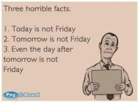 Not Friday: Three horrible facts:  Today is not Friday  2. Tomorrow is not Friday  Ja  3, Even the day after  tomorrow is not  Friday  Peg It Board