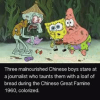 """<p>Check out my IG meme page @jesusloveslean via /r/dank_meme <a href=""""http://ift.tt/2hPTvNJ"""">http://ift.tt/2hPTvNJ</a></p>: Three malnourished Chinese boys stare at  a journalist who taunts them with a loaf of  bread during the Chinese Great Famine  1960, colorized. <p>Check out my IG meme page @jesusloveslean via /r/dank_meme <a href=""""http://ift.tt/2hPTvNJ"""">http://ift.tt/2hPTvNJ</a></p>"""