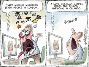 Memes, Tumblr, and Twitter: THREE MUSLIMS MURDERED  SEVEN PEOPLE IN LONDON...  A LONE AMERICAN GUNNED  DOWN FIVE FELLOW  AMERICANS IN ORLANDO...  *YAWN* democriticalrepublications:  cartoonpolitics:  (cartoon by Nick Anderson)  Follow our tumblr for more political memes and cartoons!