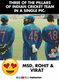 indian cricket: THREE OF THE PILLARS  OF INDIAN CRICKET TEAM  IN A SINGLE PIC.  HOM  ROHIT  VIRAT  LAUGHING  MSD, ROHIT &  VIRAT  ET 2 (  回參/laughingcolours