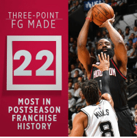 Memes, Game, and History: THREE-POINT  FG MADE  MOST IN  POSTSEASON  FRANCHISE  HISTORY  HOU ON The 2nd-most threes any team has ever made in a playoff game 🔥