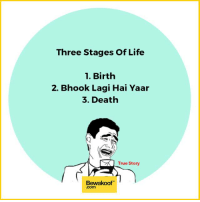 Memes, 🤖, and Deaths: Three Stages of Life  1. Birth  2. Bhook Lagi Hai Yaar  3. Death  SK True Story  Bewakoof Food is life   Shop now:  http://bwkf.shop/View-Collection   — Products shown: Crisp White Mandarin Collar Shirt -  Mandarin Collar Shirts For Men  ,  Tartan Check Flannel Shirt and  Screw You Iphone 7 Phone Case.