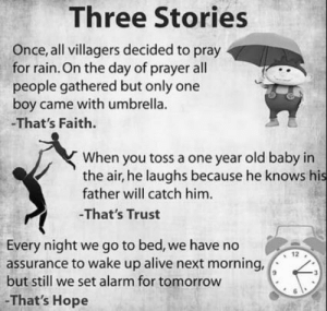 Alive, Instagram, and Ironic: Three Stories  Once, all villagers decided to pray  for rain. On the day of prayer all  people gathered but only one  boy came with umbrella.  -That's Faith  When you toss a one year old baby in  the air, he laughs because he knows his  father will catch him.  -That's Trust  Every night we go to bed, we have no  12  assurance to wake up alive next morning,  but still we set alarm for tomorrow  -That's Hope I found this on Instagram. -That's entirely un-ironic.