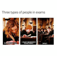 Memes, 🤖, and Harrypotter: Three types of people in exams  I M  OHLII KNOW THIS.  WHAT I'm like Harry 😂 what about you? Tag a Friend! harrypotter potterhead