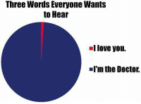 Doctor, Love, and Memes: Three Words Everyone Wants  to Hear  I love you.  I'm the Doctor.