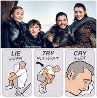 Memes, Thrones, and Down: Thrones Memes  TRY  LIE  DOWN  NOT TO CRY  CRY  A LOT https://t.co/twrxE09bcK