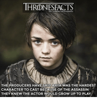 What do you think Arya will do in Season 7?: THRONESFACTS  http:/instagram.com/thronesfacts/  THE PRODUCERS HAVE SAID ARYAWAS THE HARDEST  CHARACTER TO CAST BECAUSE OF THE ASSASSIN  THEY KNEW THE ACTOR WOULD GROW UP TO PLAY. What do you think Arya will do in Season 7?